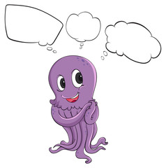 A purple octopus thinking