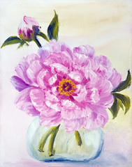Peony in vase, oil painting on canvas