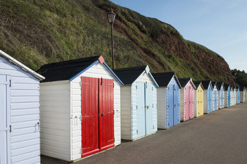 Colorful Beach Huts at Seaton, Devon, UK