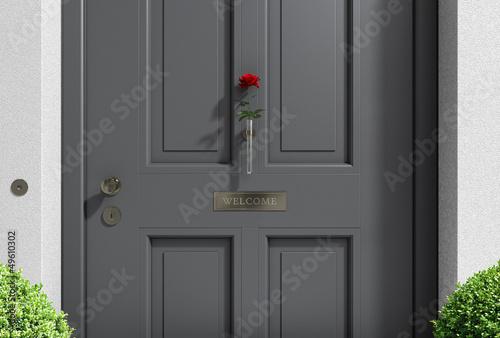 Haustür holz grau  Willkommen Haustür grau mit Rose
