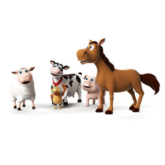 3d rendered illustration of farm animals