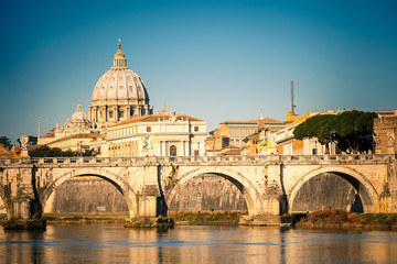 Poster de jardin Rome Tiber and St. Peter's cathedral, Rome