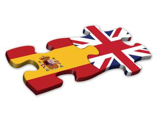 Spanish & UK Flags (Spain English languages translation jigsaw)