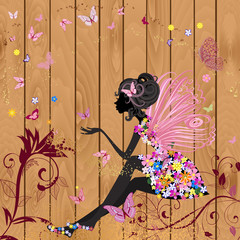 Poster Floral woman Flower Fairy on a wood texture for your design