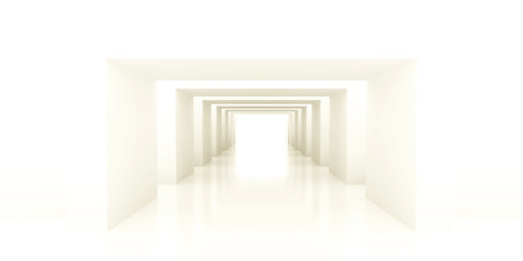 shined corridor with columns and light making the way ahead