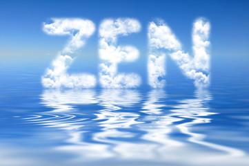 Mot zen, nuages et reflets