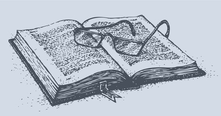 Vector still life. Disclosed old book with glasses on pages