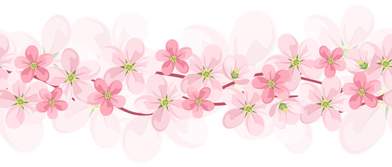 Horizontal seamless background with pink flowers. Vector EPS-10.