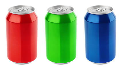 Set of aluminum 330ml cans isolated on white background