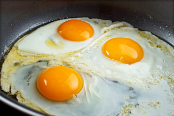 Deurstickers Gebakken Eieren Fried eggs in a pan closeup
