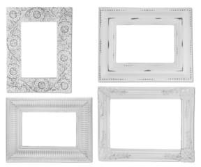 Set of white photo frames