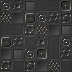 The dark background with a geometrical relief pattern
