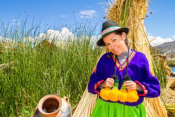latin woman in national clothes. Peru. s. america