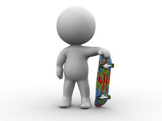 3D Man and SkateBoard