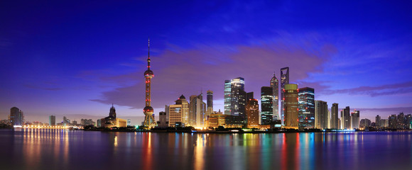 Lujiazui Finance&Trade Zone of Shanghai landmark skyline at dawn