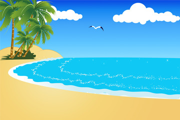 Tropical beach with blue sky and blue sea