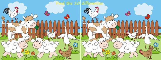 Poster Ranch farm-10 differences, vector illustration
