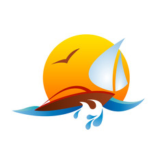 Vector Logo seaside holidays, sailing