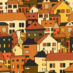 Panorama town buildings in brown seamless pattern, vector