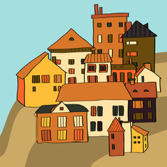 Small town various buildings on a hill composition, vector