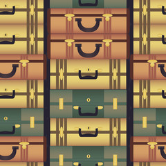 Vintage colorful suitcases Seamless Pattern