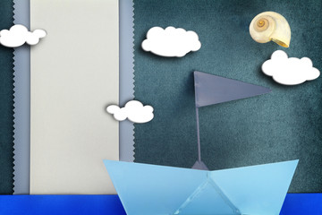 Blank banner and blue boat on fabric background
