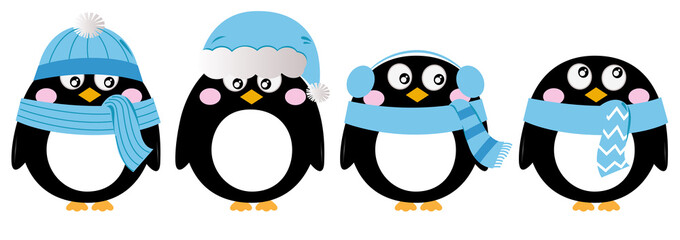 Cute penguin set isolated on white ( blue )