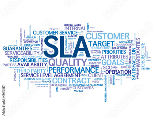 Sla Tag Cloud Service Level Agreement Business Performance Stock
