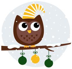 Cute retro owl sitting on the branch