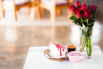 Single coffee espresso shot and homemade cake