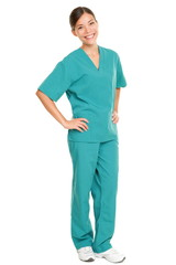 Medical nurse isolated in full body length
