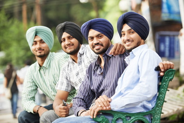 Young adult indian sikh men