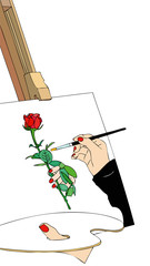 The painting of a rose