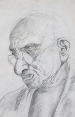 hand drawing picture, pencil technique, old man-s portrait