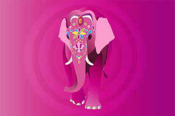 illustration of an indian pink elephant