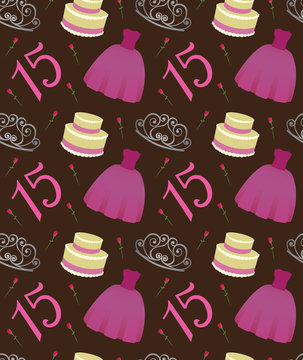 Quinceanera Seamless Vector Pattern Birthday Quinceañera