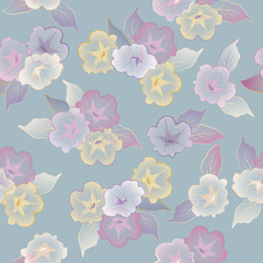 Vector floral seamless pattern beautiful flowers