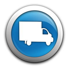 Wall Mural - camion de livraison sur bouton bleu