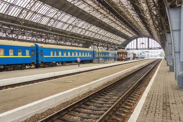Platform of railway station in Lviv - Ukraine.