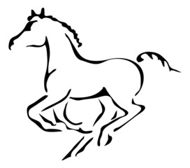 black and white vector outlines of galloping foal
