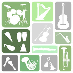 Set of music instrument in rectangles