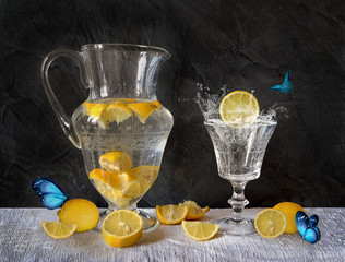 Still life with lemons and butterflies