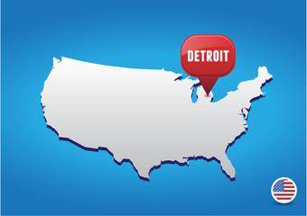 Detroit on USA map