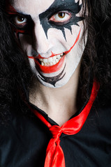 Close up of evil clown face