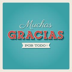 Muchas gracias, tarjeta de agradecimiento.Thank you card