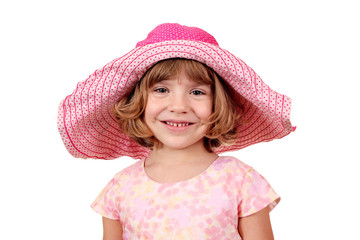 Wall Mural - beautiful little girl with big hat portrait on white