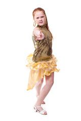 dancing  little girl in golden dress, isolated on white