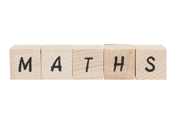 Maths Written With Wooden Blocks.