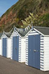 Beach Huts at Seaton, Devon, UK.
