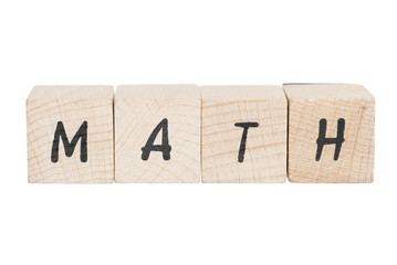 Math Written With Wooden Blocks.